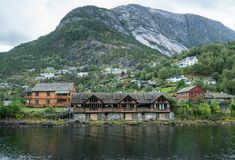 Town of Eidfjord in Norway. Small town of Eidfjord in Norway with clear waters of the fjord Royalty Free Stock Image