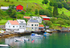 Small town in europe. The small town in the north europe fjord Royalty Free Stock Image