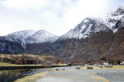 Small Town in the Fjords at Flam, Norway Stock Photo