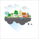 Small town flat illustration. Small town flat design illustration Stock Photo