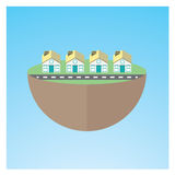 Small Town. Flat small town vector illustration for info-graphic or promotional media Royalty Free Stock Photos