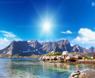 Small town of hamnoy near lofoten in norway with blue sky Stock Photos