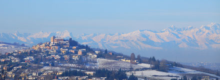 Small town on the hill in Piedmont. Royalty Free Stock Photo