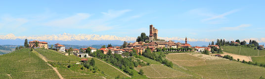 Small town on the hill in Piedmont, Italy. Royalty Free Stock Photo