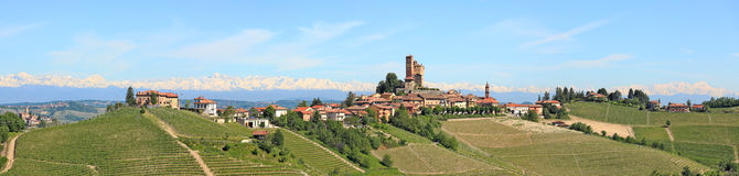 Small town on the hill in Piedmont, Italy. stock images