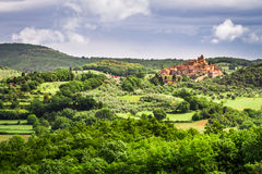 Small town on a hill in Tuscany Royalty Free Stock Images