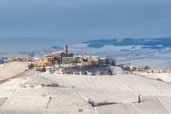 Small town on the hill in winter. Royalty Free Stock Photo