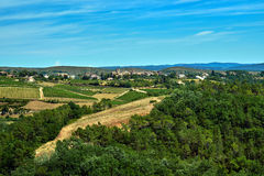 Small town in the hills of vineyards Stock Photography
