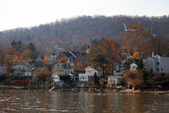 Small town on Hudson river, NY, USA Royalty Free Stock Photo