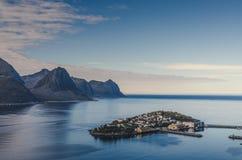 Small town of Husoy, Senja Norway Royalty Free Stock Photos