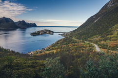 Small town of Husoy, Senja Norway Stock Image