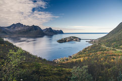 Small town of Husoy, Senja Norway Stock Photography