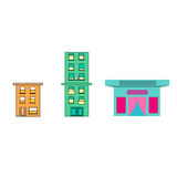 Small town,icon,sticker Royalty Free Stock Image