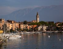 Small town Italy on lake front Stock Images