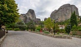 Small town Kastraki near Meteora rocks in Greece Royalty Free Stock Photography