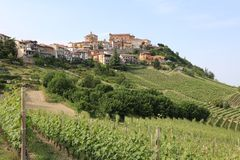 Small Town La Morra in Piedmont. Italy Royalty Free Stock Images
