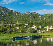 A small town with a lake view Dodoshi Stock Image