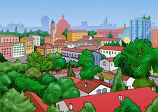 Small town landscape. Illustration of a small town landscape. View from above Stock Image