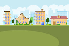 Small town landscape background Royalty Free Stock Image