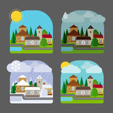 Small town landscape in flat style royalty free illustration