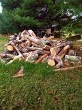Small town life - woodpile Royalty Free Stock Photography