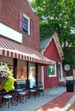 Small Town Main Street 3. A small town main street in Maryland.  A cafe with outdoor seating Stock Photo