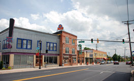 Small Town Main Street 8 Hyattsvill MD. A small town main street with restaurants, a toy store, and many other small shops Royalty Free Stock Image