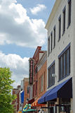 Small Town Main Street Hyattsville Maryland. Small town main street with awnings and signs Royalty Free Stock Image