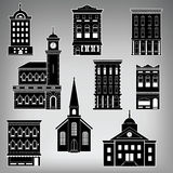 Small Town Main Street Buildings Stock Photo