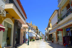 Small town main street. The main commercial street in Argostoli town,Kefalonia island,Greece Royalty Free Stock Photo