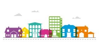 Small town main street neighborhood vector illustration. Colorful smalltown main street neighborhood vector illustration royalty free illustration