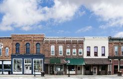 Small Town Main Street. A photo of a typical small town main street in the United States of America. Features old brick buildings with specialty shops and Stock Photography