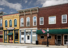 Small Town Main Street Shops. A photo of a typical small town main street in the United States of America. Features old brick buildings with specialty shops Stock Photo