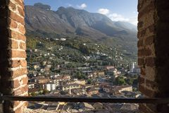 Town of Malcesine near lake Gardasee. The small town of Malcesine in Northern Italy on lake Gardasee royalty free stock photo