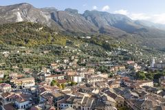 The small town of Malcesine near lake Gardasee. The small town of Malcesine in Northern Italy on lake Gardasee royalty free stock images