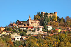 Small town and medieval castle in Italy. Royalty Free Stock Photos