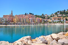Small town of Menton on Mediterranean sea in France. Royalty Free Stock Photo