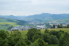 Small Town. Mountains with Small Town in valley Royalty Free Stock Image
