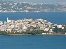 Small Town in Naples - Italy. The image represents a view of Bacoli from Monte di Procida, a small Town in north coast of Naples in Italy Stock Photo