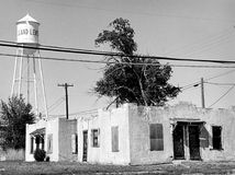 Small-town neighborhood. Black and white film image of a small-town American neighborhood Stock Photography