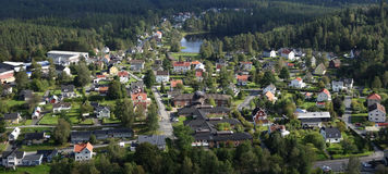 Small Town Neighbourhood. Bird wiew over small town neighbourhood close to nature. Real estate close to nature with clean air. Unique bird view concept royalty free stock images