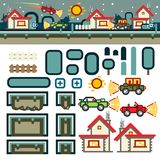 Small town at night flat game level kit vector illustration