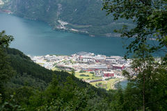 Small town Norway - houses and fjord Royalty Free Stock Photos