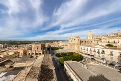 Small Town of Noto - Syracuse Sicily Italy. Cityscape of Noto with the cathedral of St. Nicholas of Myra San Nicolo, small town near Syracuse Siracusa, Sicily Royalty Free Stock Photos