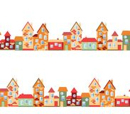 Small town panorama with cute houses. Seamless european village Stock Photo