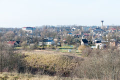 Small town panoramic view from above in the autumn Royalty Free Stock Image