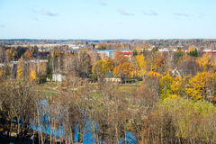 Small town panoramic view from above in the autumn Royalty Free Stock Photo