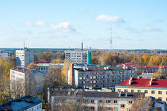 Small town panoramic view from above in the autumn Stock Photo