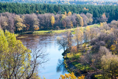 Small town panoramic view from above in the autumn Stock Photos