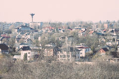 Small town panoramic view from above in the autumn. Vintage. Royalty Free Stock Photos